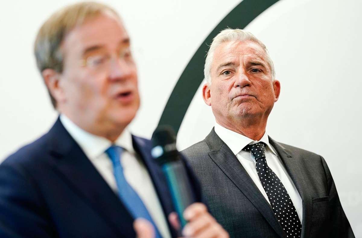 Kanzlerkandidat Armin Laschet (links) und Landesparteivorsitzender Thomas Strobl fallen mit der CDU auf ein Rekordtief. Foto: dpa/Uwe Anspach