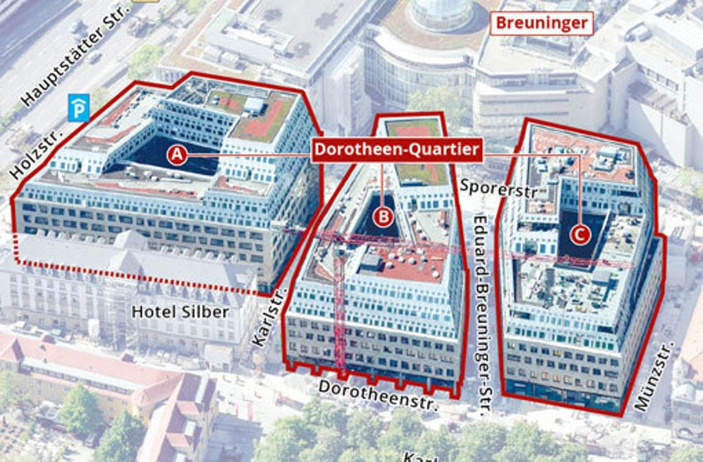 Die Anordnung der drei Häuser des Dorotheen-Quartiers. Foto: StNZ-Grafik Lange/Hofmann, Foto: Arnim Kilgus