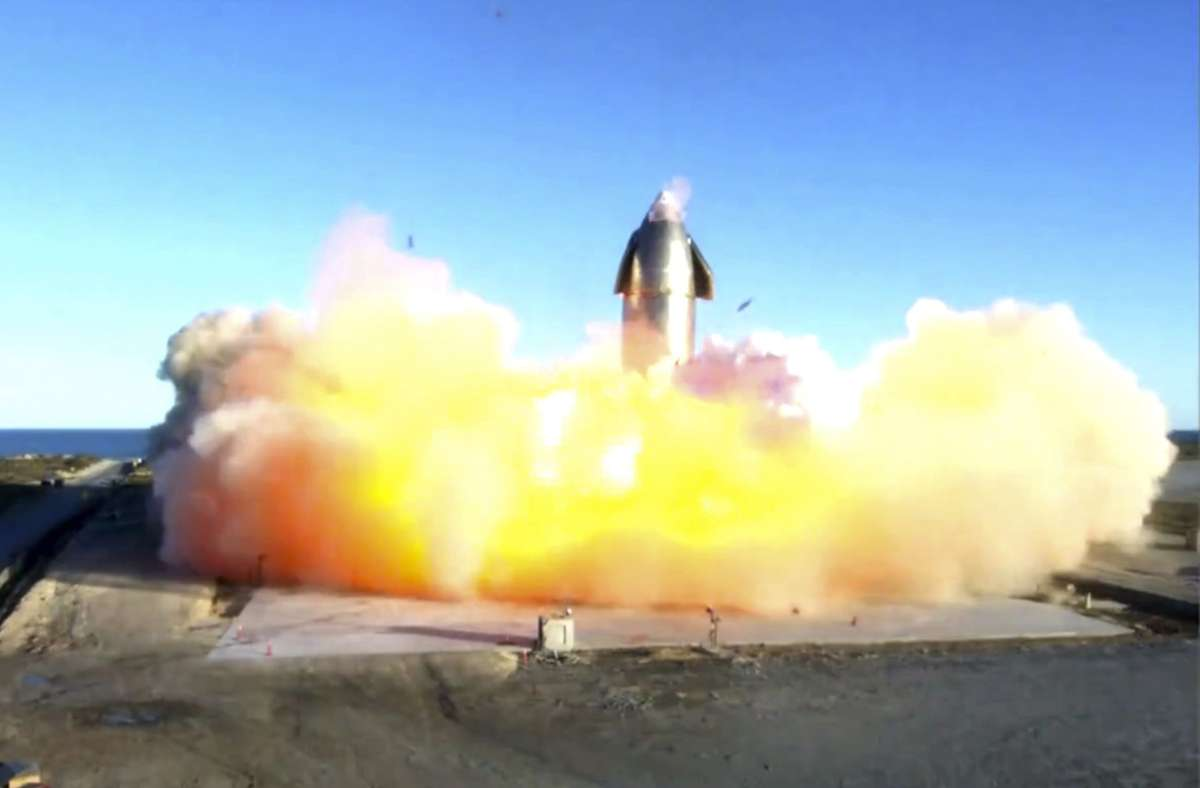 Bei der Landung ging die Rakete in einem Feuerball auf. Foto: AP