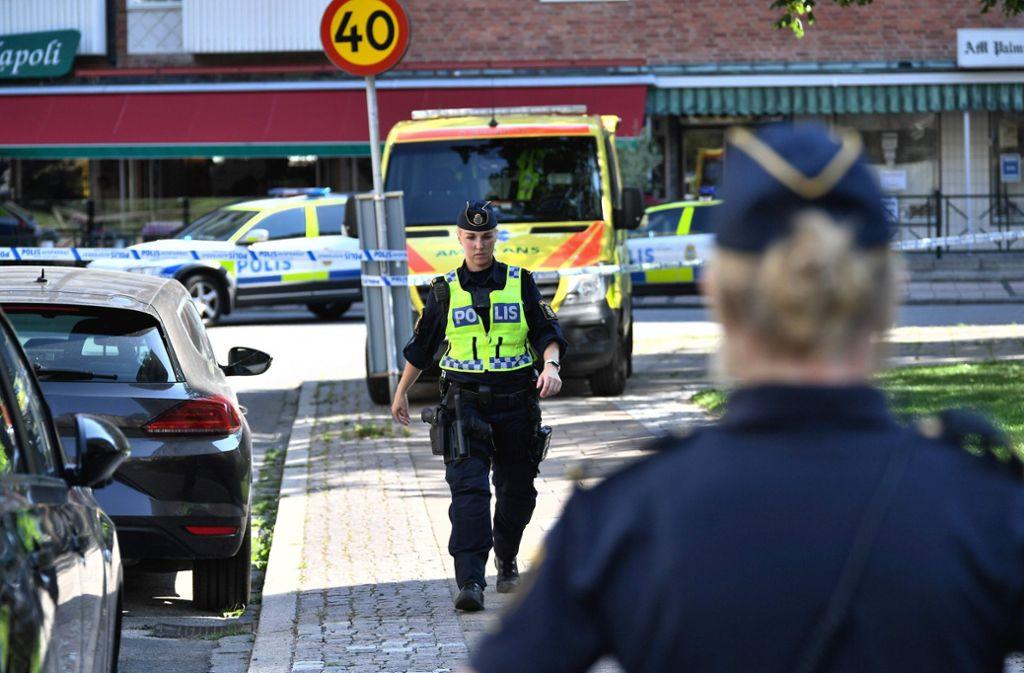 Junge Mutter erschossen: Polizeieinsatz am Ort des Verbrechens  in Malmö Foto: AFP