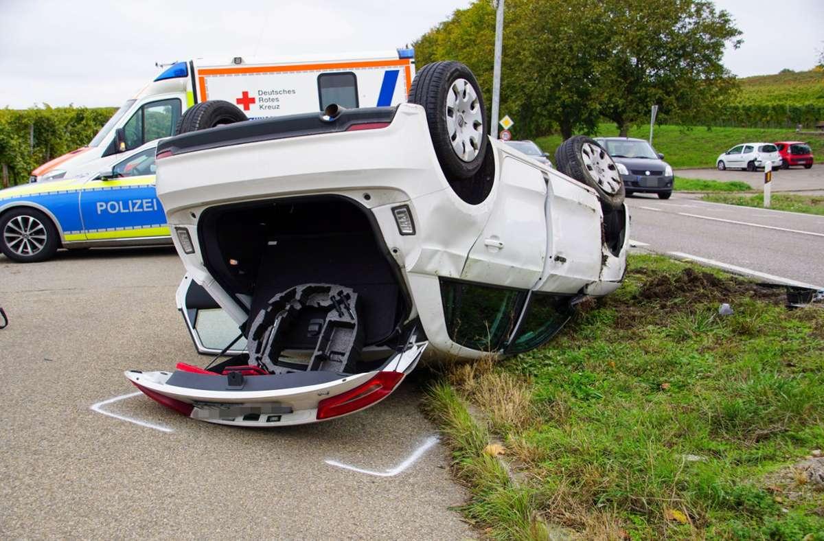 Am Samstag hat sich im Kreis Ludwigsburg ein Audi überschlagen. Foto: SDMG/Hemmann