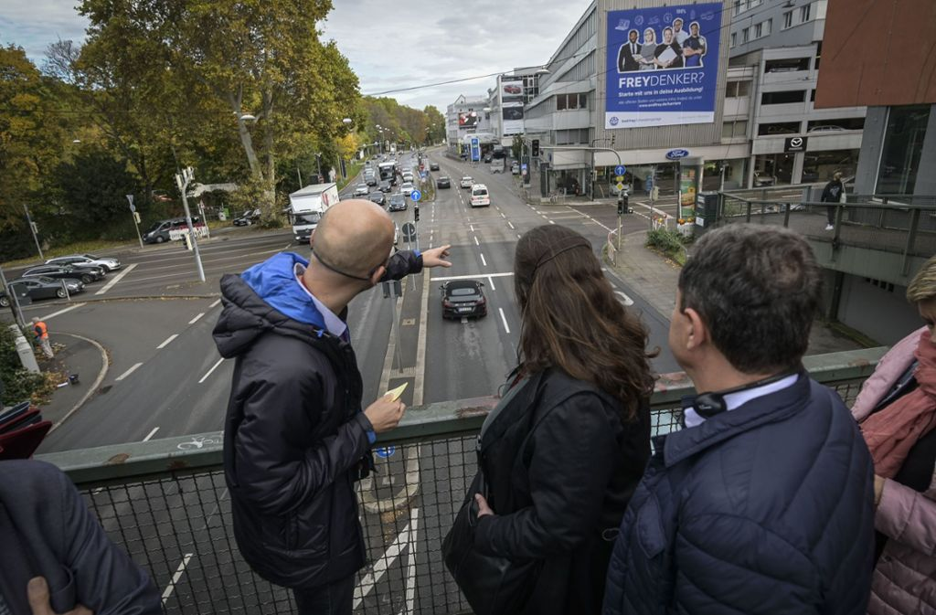 Die Gäste aus Spanien waren natürlich auch am Neckartor. Foto: Lichtgut/Leif Piechowski