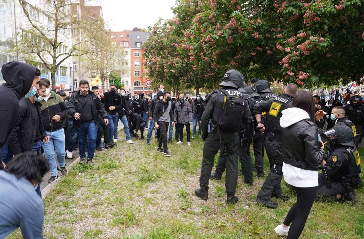 Die Polizei zeigte Präsenz bei den Kundgebungen in Stuttgart. Foto: Fotoagentur-Stuttg/Andreas Rosar