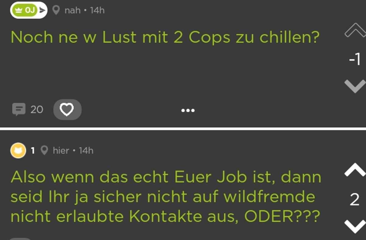 So beginnt die Diskussion mit den zwei Polizisten  auf der Plattform Jodel. Foto: Screenshot/red