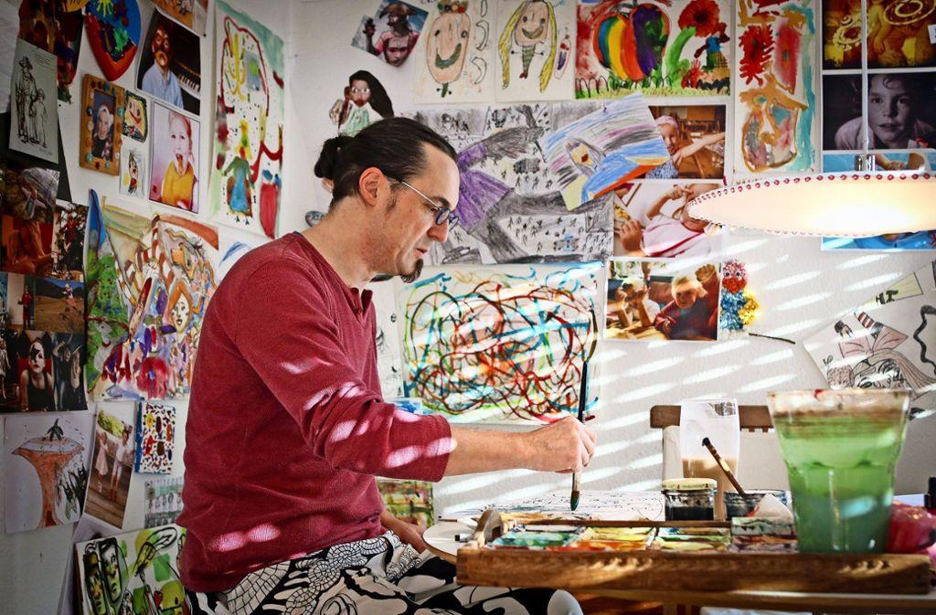 Danilo Wertenauer malt am liebsten mit Aquarellfarben. Foto: factum/Granville