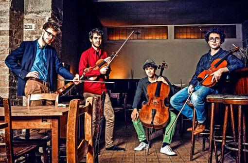 Die Mitglieder des Vision String Quartet (von links): Jakob Encke, Daniel Stoll, Leonard Disselhorst und Sander Stuart.