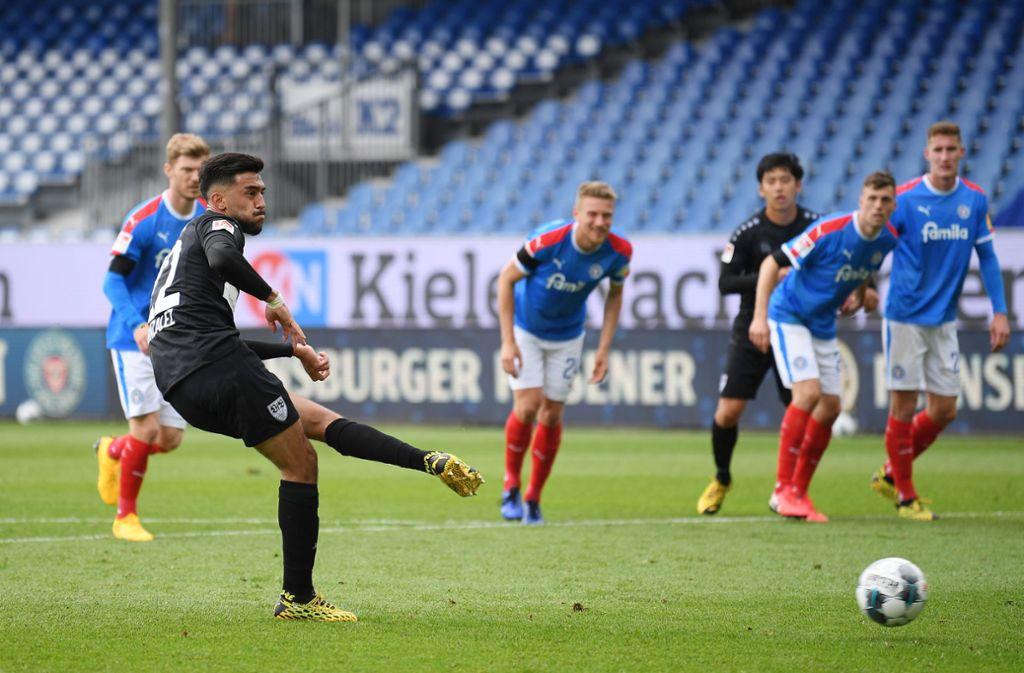 Holstein Kiel hatte gegen den VfB Stuttgart trotz Geisterspiel Heimvorteil. Foto: dpa/Stuart Franklin