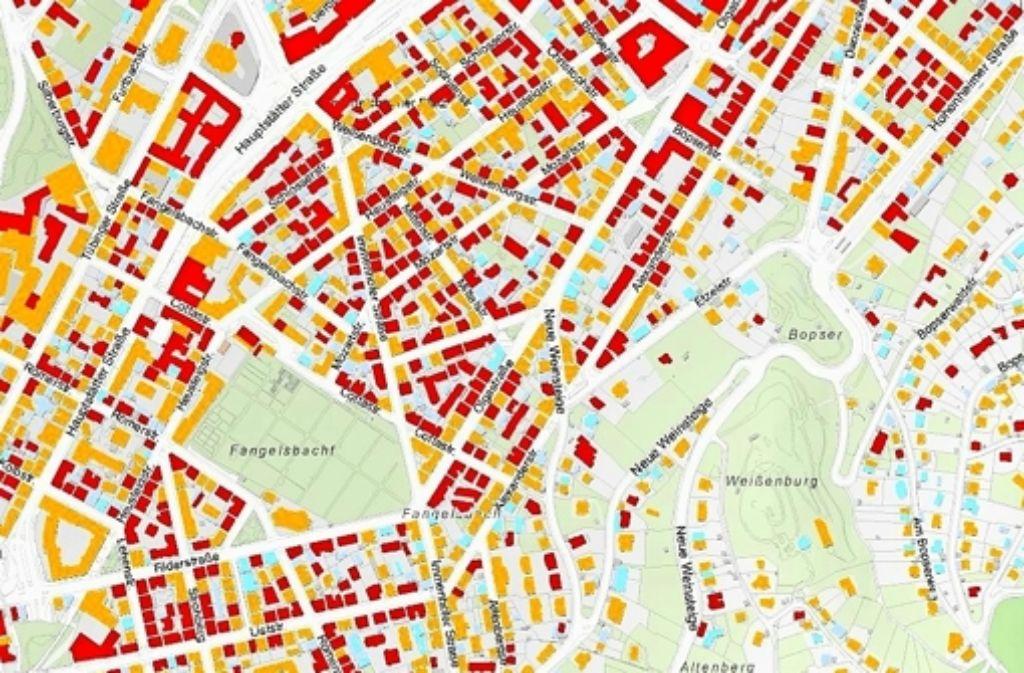 Rote Häuser im Solaratlas sind sehr gut, orangene gut für Anlagen geeignet. Foto: Stadtwerke