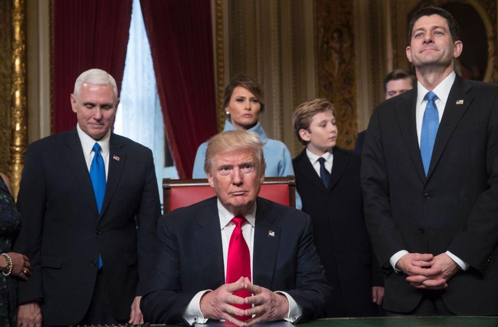 US-Präsident Donald Trump ist am Freitag in sein Amt einführt worden. Foto: AFP