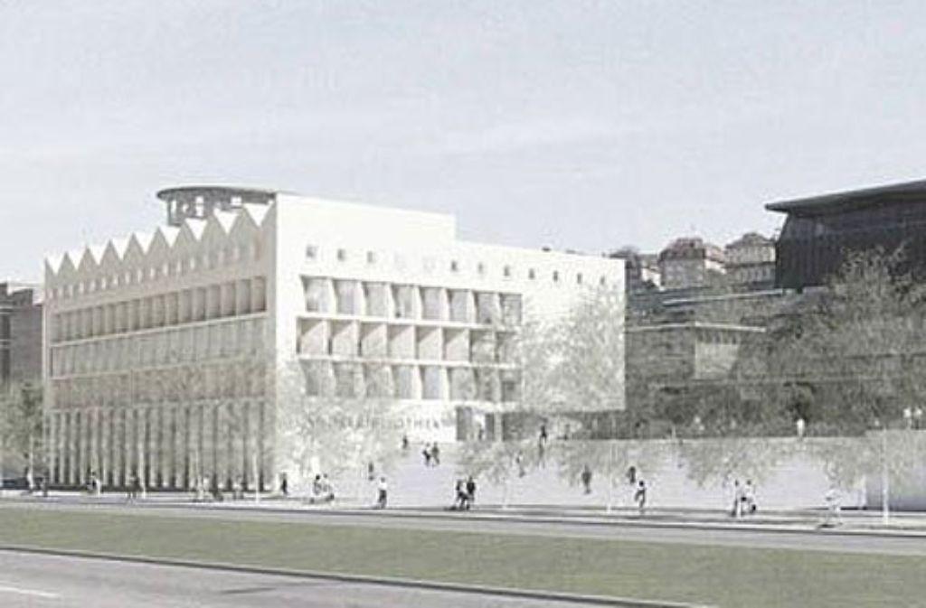 Das Bibliotheksgebäude von Lederer Ragnarsdottir Oei soll direkt an der Konrad-Adenauer-Straße stehen. Foto: Visualisierung: Aldinger & Wolf