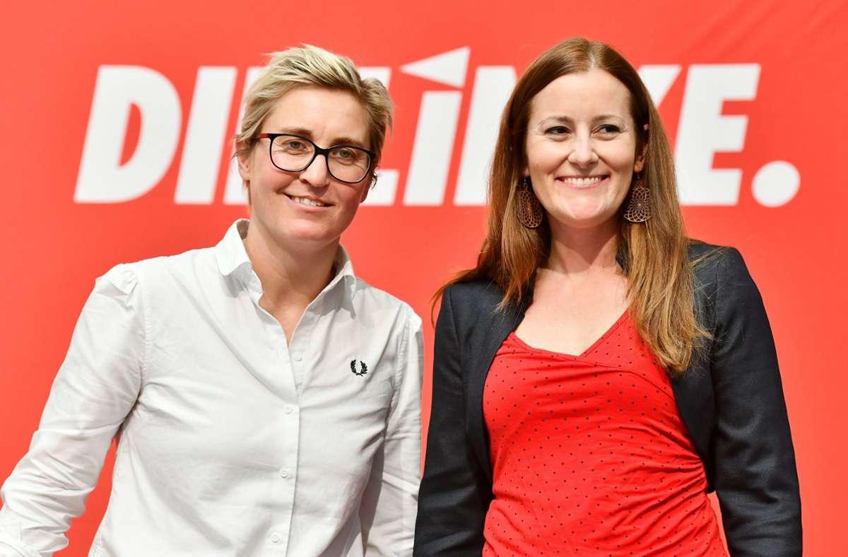 Susanne Hennig-Wellsow (links) und Janine Wissler sind die neuen Bundesvorsitzenden der Linkspartei. Foto: dpa/Frank  May
