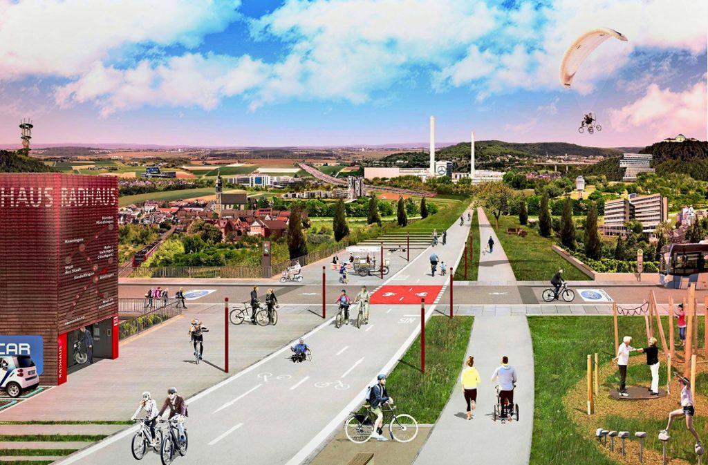Eine Vision: Fahrradfahren auf dem Deckel der A81 Foto: Stadt Böblingen
