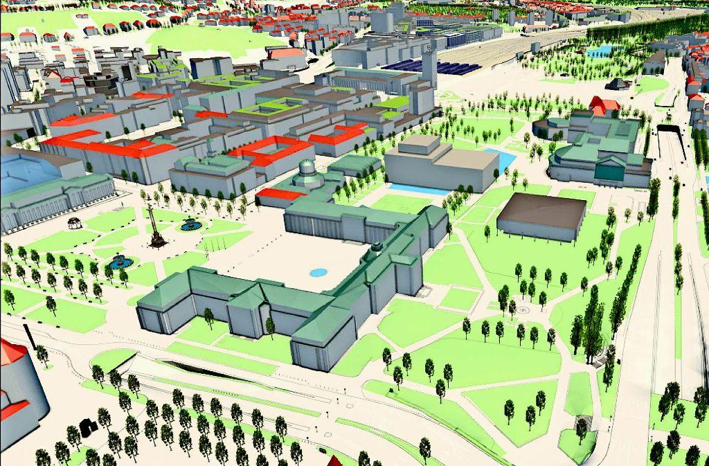 Städtische Stadtplaner haben auf Basis der bisher bekannten Anforderungen an eine Interimsoper ein Massenmodell erstellt. Foto: Stadtplanungsamt Stuttgart