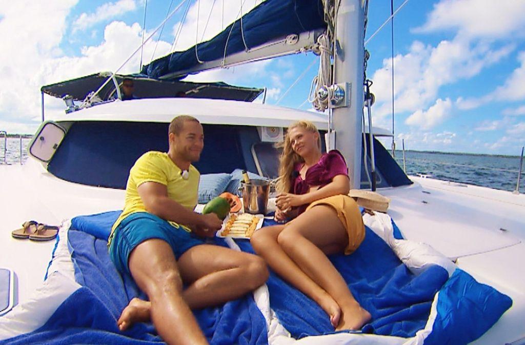 So romantisch war die Bootstour mit dem Bachelor – da könne es schon mal vorkommen, dass man den Bezug zur Realität verliere, so die Ditzingerin Vanessa Prinz. Foto: TVNOW