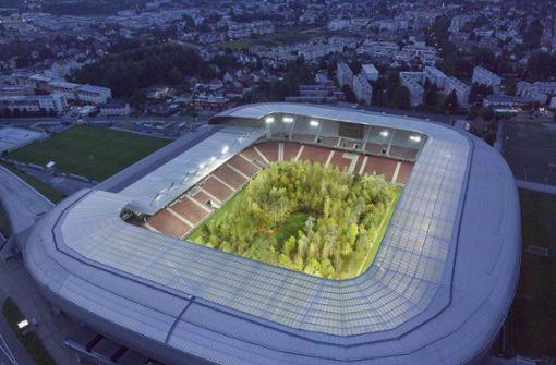 Wald-Kunstprojekt in Klagenfurter Stadion offiziell eröffnet