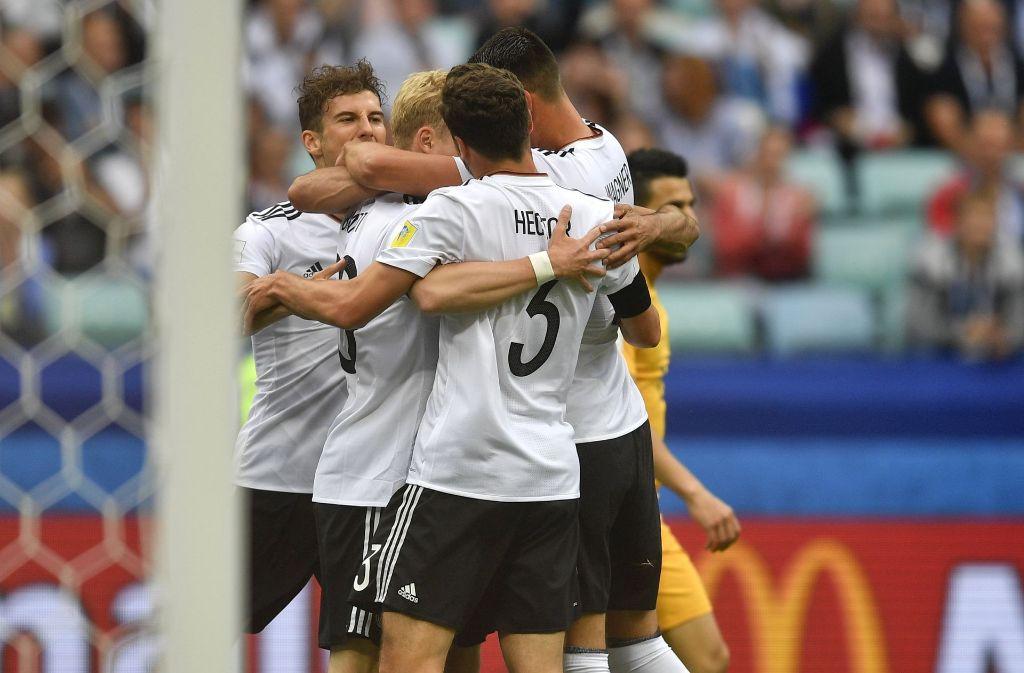Die deutsche Nationalmannschaft feierte den Sieg gegen Australien – doch in Stuttgarter Biergärten war der Jubel nicht zu sehen. Foto: AP