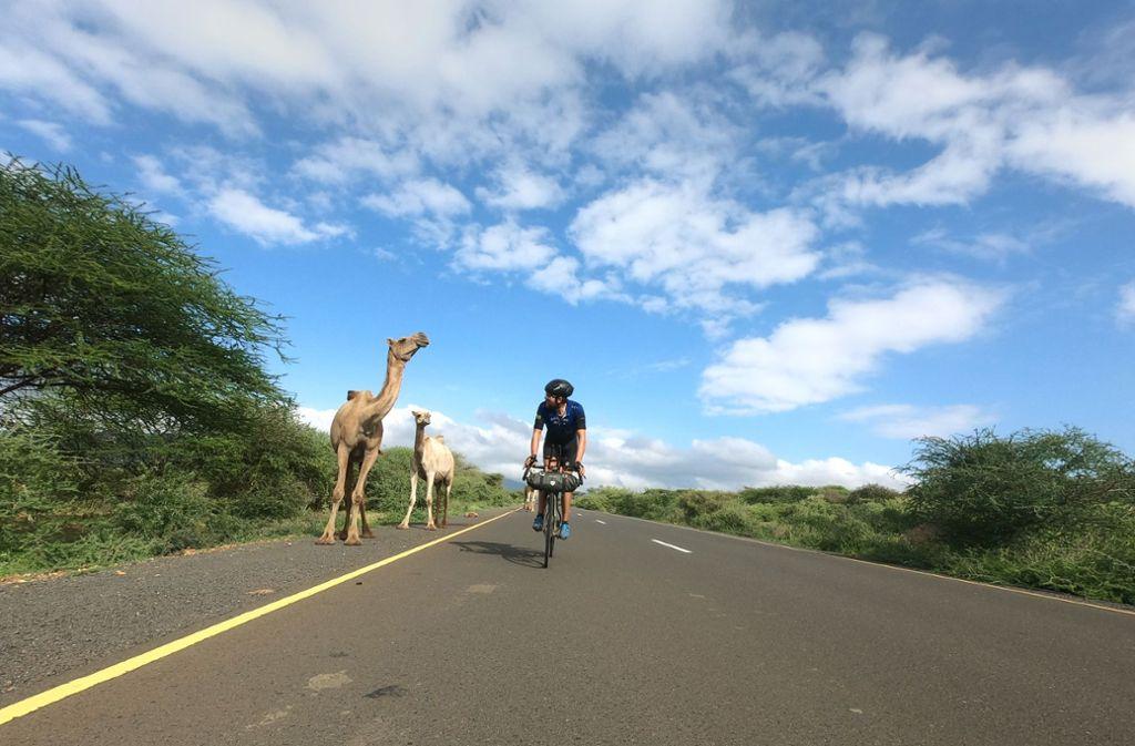 Das Radfahren ist ihm nicht mehr genug: Im Sommer will Jonas Deichmann, hier bei seiner Kap-zu-Kap-Tour 2019, mit einem Triathlon die Welt umrunden. Foto: Deichmann