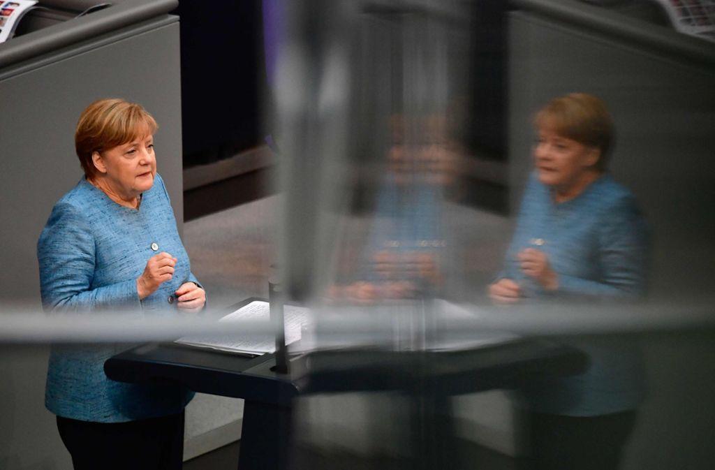 Angela Merkel bei der Generaldebatte im Bundestag. Foto: AFP