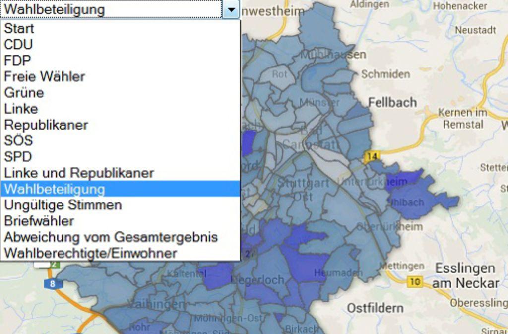 Der Wahlatlas Stuttgart wertet die Ergebnisse der Kommunalwahl 2009 nach Stadtteilen aus. Dadurch werden sehr detaillierte und teilweise sehr überraschende Einblicke in das Wählerverhalten möglich. Zum Beispiel ... Foto: Screenshot
