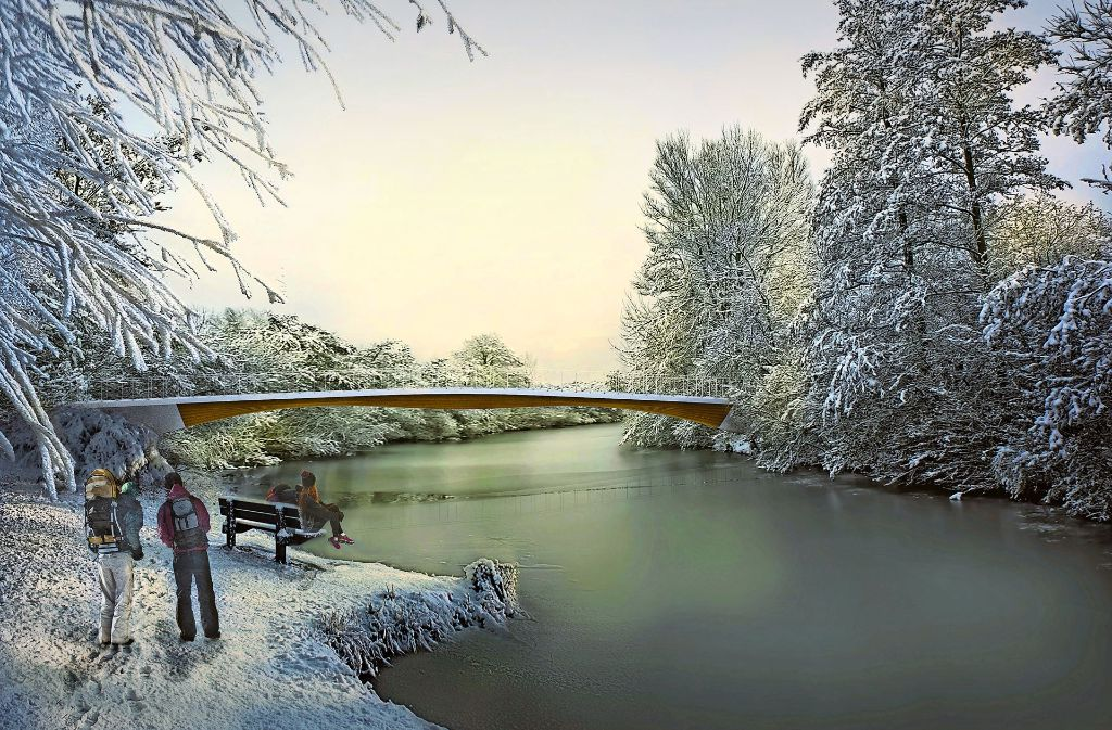 So könnte in Weinstadt die  bessere Anbindung des Trappelers per Holzbrücke aussehen.  Animation: Arge Stuttgarter Holzbrücke Foto: