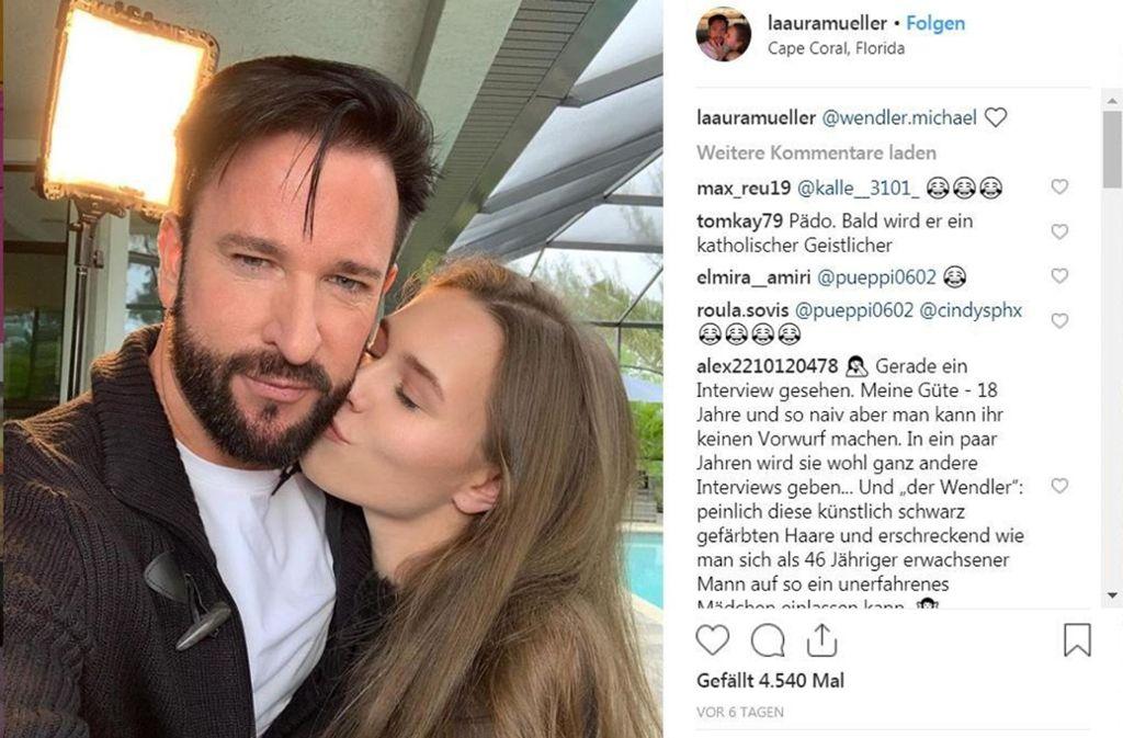 """""""Ewig dein. Ewig mein. Ewig uns"""", schreibt Laura unter das Pärchen-Selfie. Foto: Screenshot Instagram.com/wendler.michael"""