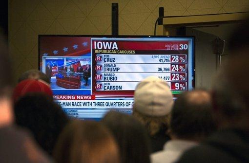 Donald Trump scheitert bei den Vorwahlen in Iowa und unterliegt Ted Cruz. Foto: dpa
