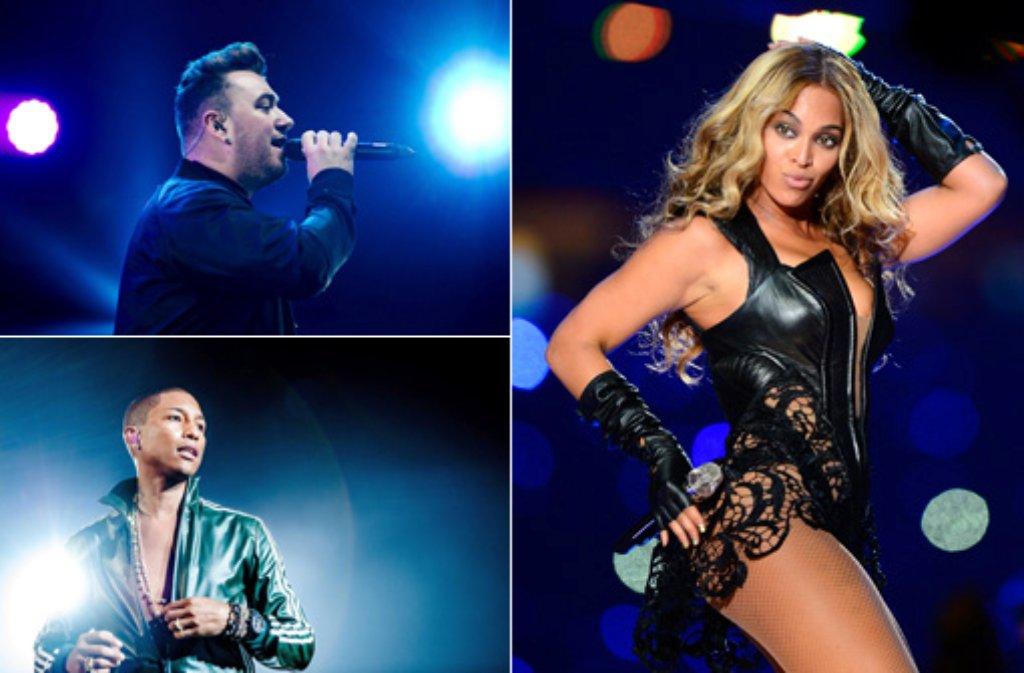Pop-Diva Beyonce, Sänger Pharrell Williams (unten) und der britische Singer-Songwriter Sam Smith haben gleich sechs Chancen auf eines der goldenen Grammophone bei den Grammy Award am Sonntagabend (Nacht zum Montag, 9. Februar, MEZ) in Los Angeles. Foto: dpa