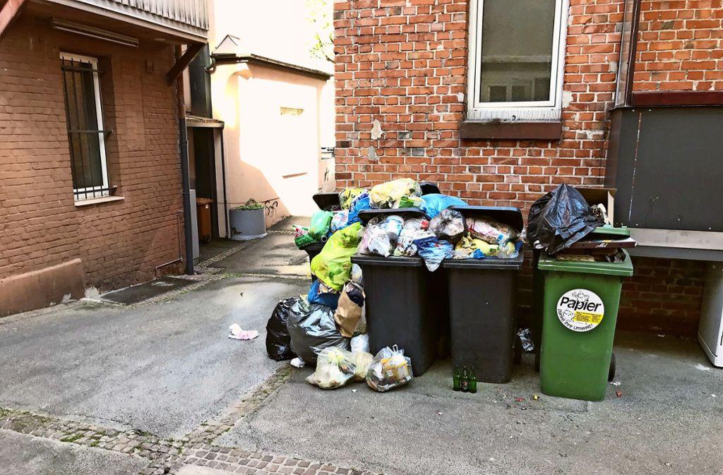Rund drei Wochen lang mussten die Anwohner in der Nordbahnhofstraße 97 und 99 solche Müllberge ertragen. Foto: privat