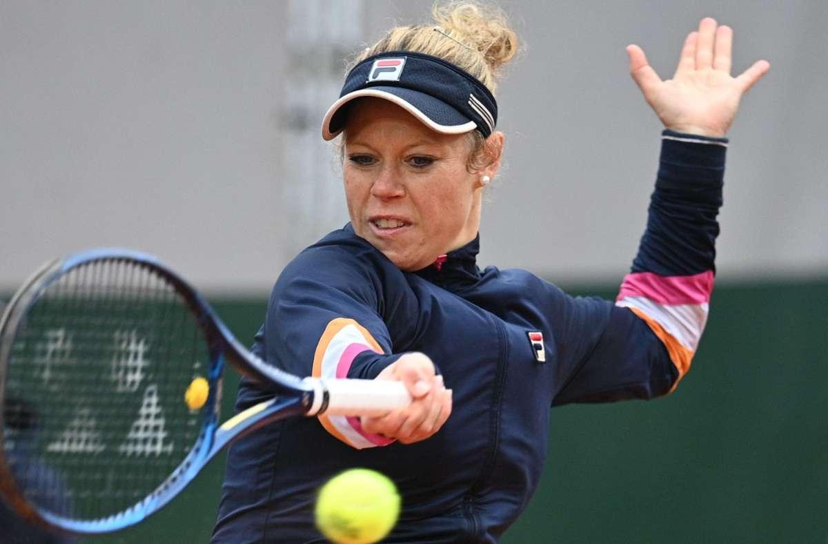 Laura Siegemund steht im Achtelfinale der French Open. Foto: AFP/ANNE-CHRISTINE POUJOULAT