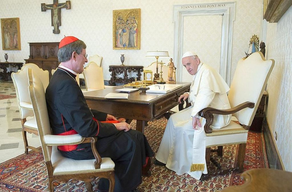 Hat er den Papst umgestimmt? Kölns Kardinal Rainer Maria Woelki am 18. Mai in überraschender Spezial-Audienz bei Franziskus. Foto: