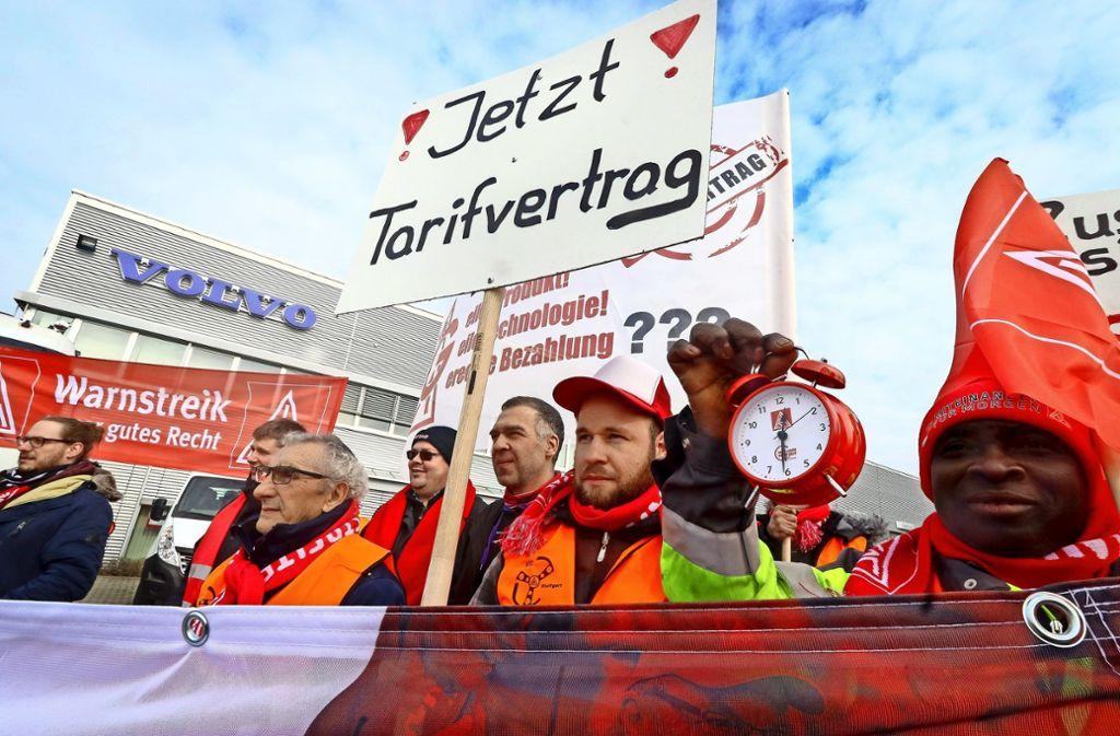 In Münchingen kämpfen Kfz-Beschäftigte für einen Tarifvertrag. Foto: factum/Granville