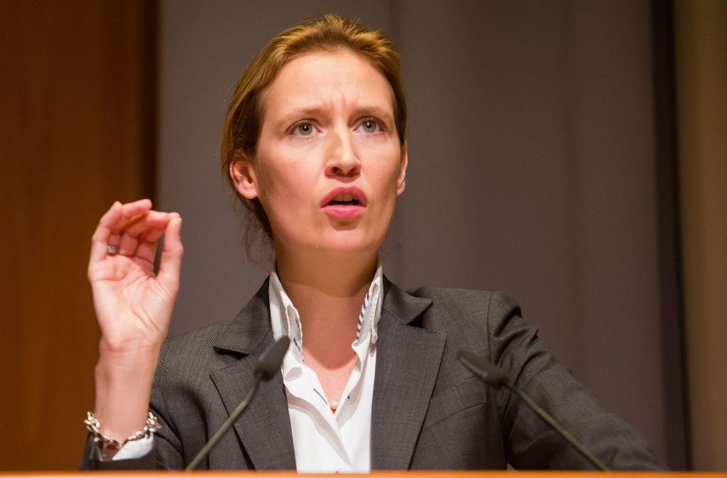 Das AfD-Bundesvorstandsmitglied Alice Weidel hat sich aus dem Flügelstreit herausgehalten. Sie hat gute Chancen, als baden-württembergische Spitzenkandidatin in den Bundestagswahlkampf zu ziehen. Foto: dpa