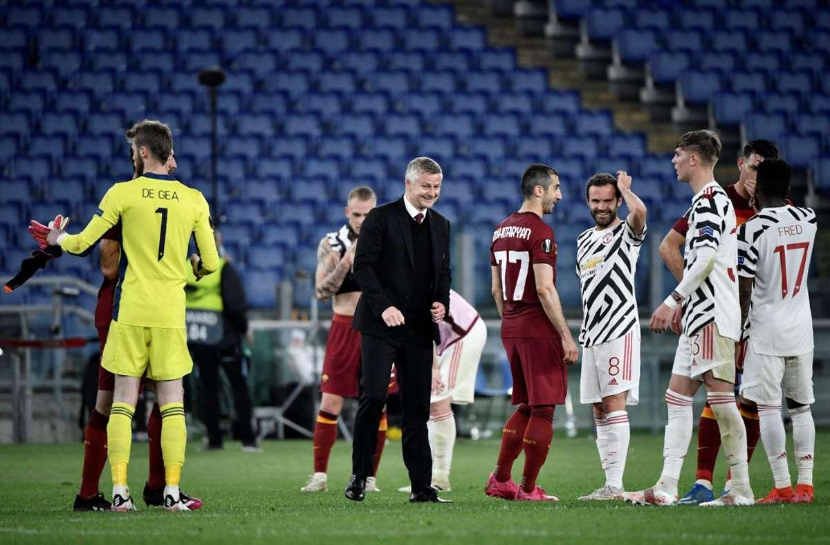Manchester United und der FC Villareal bestreiten das Endspiel der Fußball-Europa-League. Foto: AFP/FILIPPO MONTEFORTE