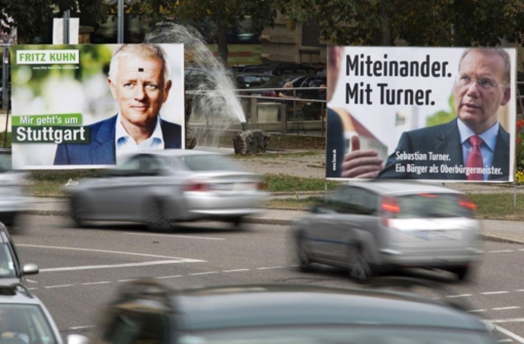 Wahlplakate von Fritz Kuhn und Sebastian Turner Foto: Steiner