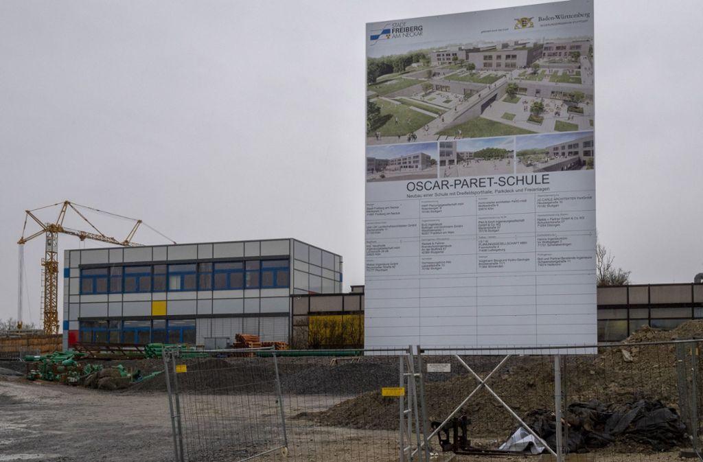 Im Stadtzentrum von Freiberg entsteht derzeit der Neubau der Oscar-Paret-Schule. Foto: factum/Andreas Weise