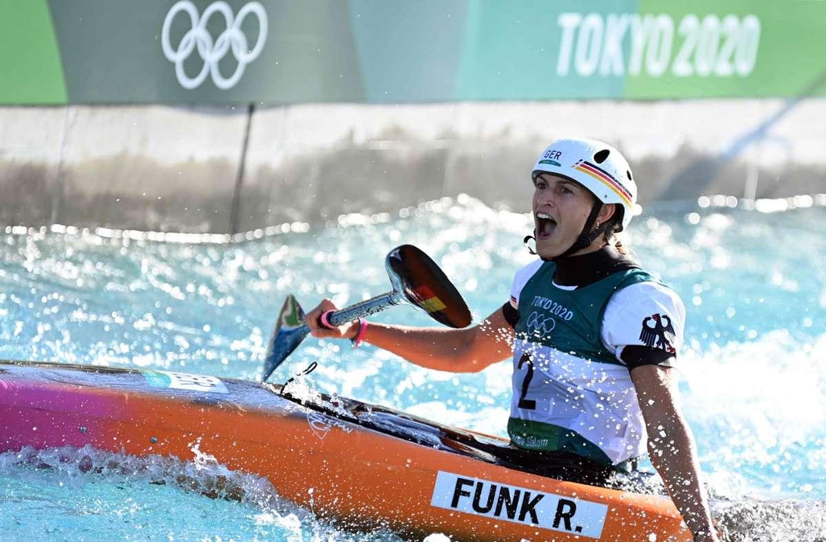 Ricarda Funk gewinnt Gold. Foto: AFP/CHARLY TRIBALLEAU