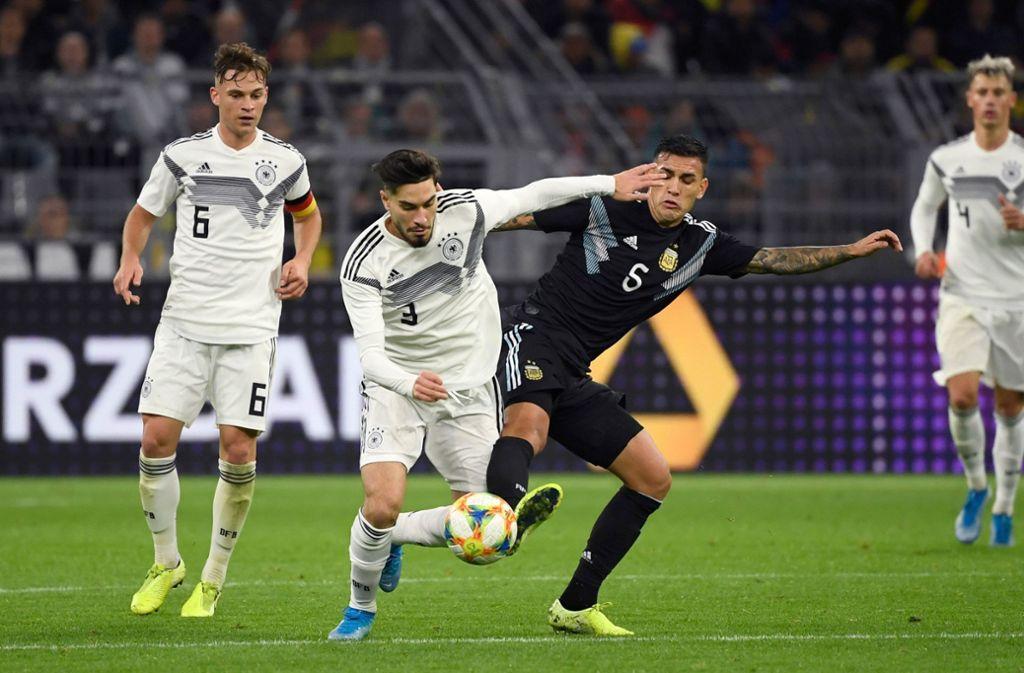 Die Not-Elf von Bundestrainer Joachim Löw startete souverän, knickte zum Schluss aber gegen die Argentinier ein. Foto: AFP/INA FASSBENDER