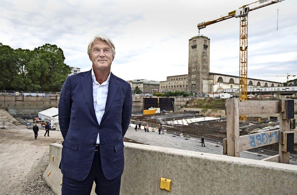 Architekt Christph Ingenhoven bei der S-21-Grudnsteinlegung im Jahr 2016. Foto: dpa