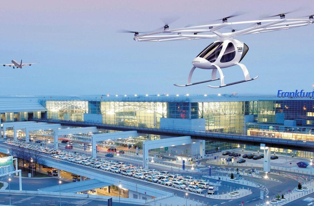 Nicht nur Airbus arbeitet an Flugtaxis – auch das baden-württembergische Start-up Volocopter ist etwa am Flughafen Frankfurt am Start. Foto: Frankfurt Airport
