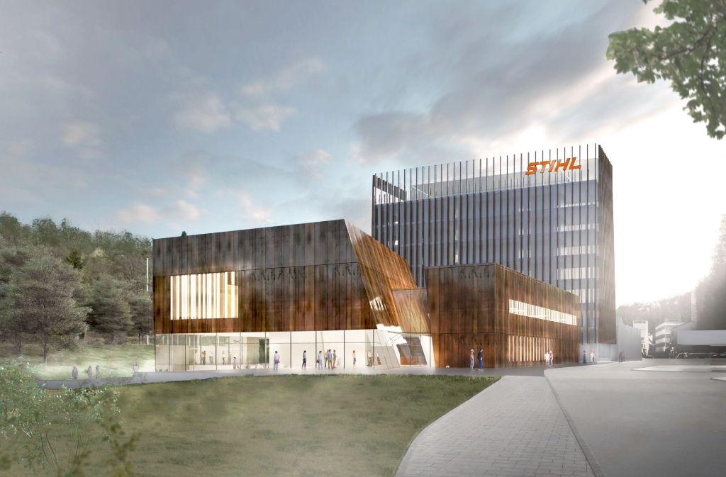 So soll  die neue Verwaltung  und  das Ausstellungsgebäude einmal aussehen. Foto: Stihl