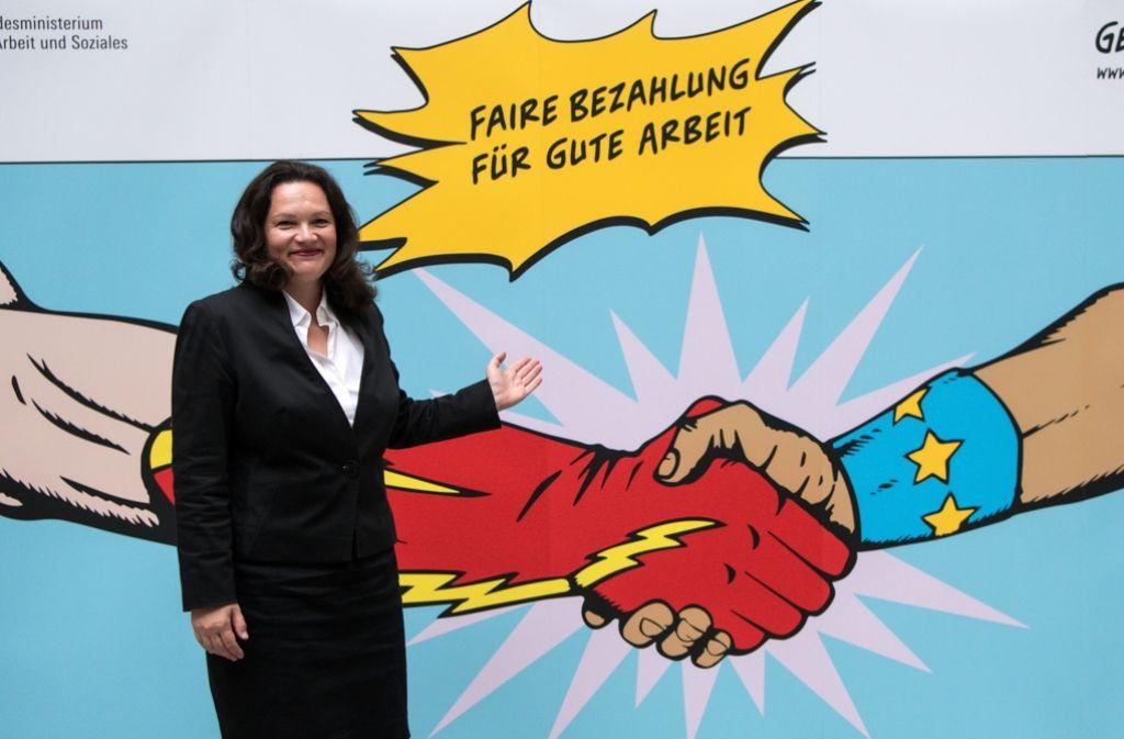 Bundesarbeitsministerin Andrea Nahles hat das Leiharbeitsgesetz jüngst mit einem neuen Plakat angekündigt. Doch könnte das Vorhaben neuen Unmut bescheren. Foto: dpa