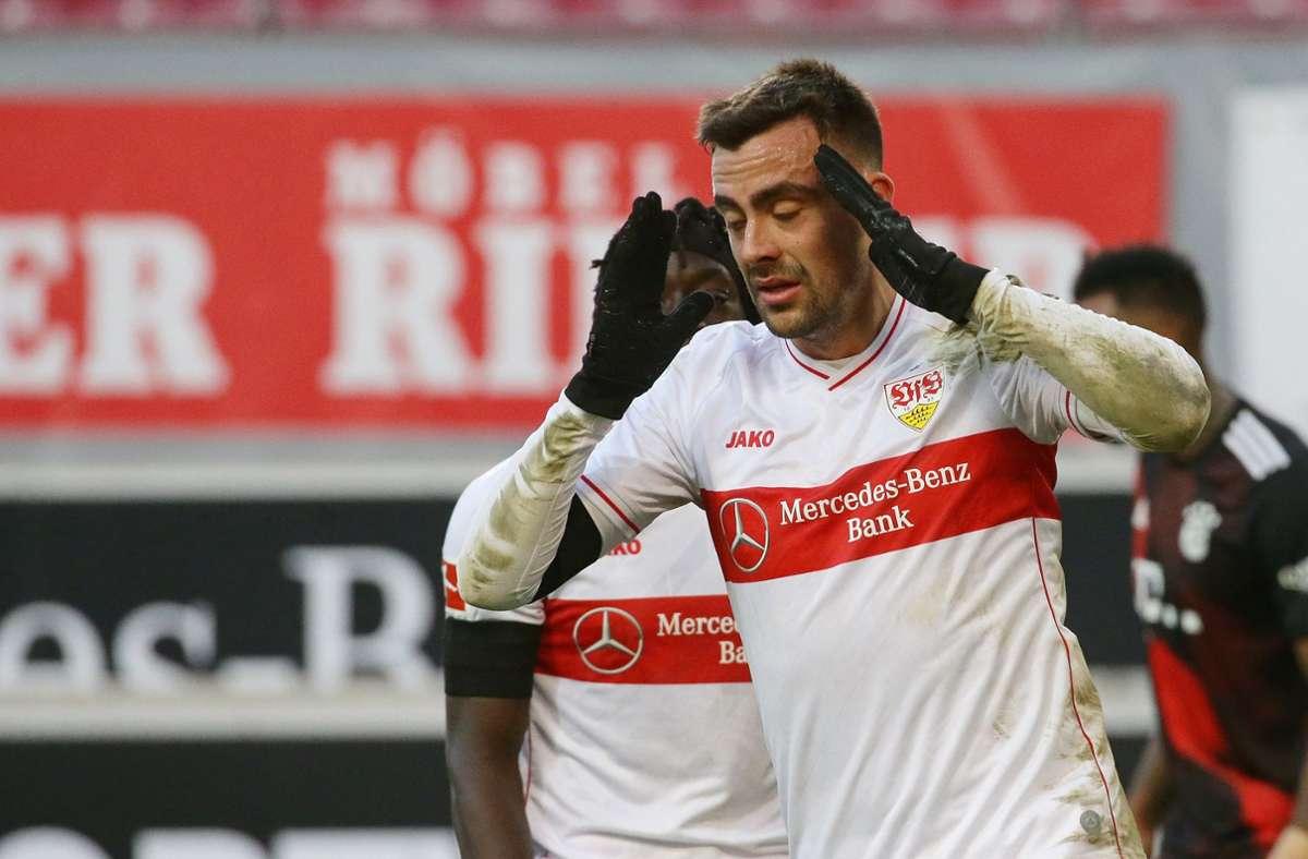Philipp Förster vergab zwei Großchancen und sein Treffer wurde vom VAR aberkannt. Am Ende fehlte dem VfB – und allen voran Förster  – die Kaltschnäuzigkeit und Effizienz, wie er auch selbst bemängelte. Foto: Baumann