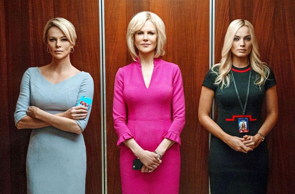 """Ein übergriffiger Mann, drei Frauen und das Ringen um Zusammenhalt:  Charlize Theron, Nicole Kidman und Margot Robbie (von links) in """"Bombshell"""" Foto: Verleih/Hilary B Gayle"""