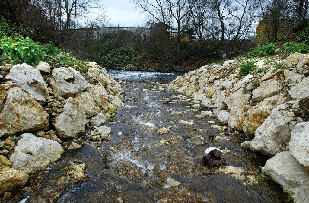 Normalerweise ist der Heubach an seiner Einmündung in die Fils ein unscheinbares Gewässer. Foto: Rudel