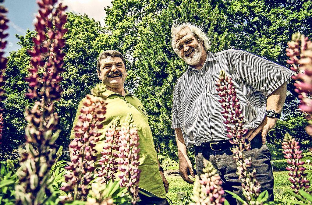 Klaus Schnaidt (li.) und  Michael Ernst  wollen  mehr Grün in Stuttgart. Foto: Lichtgut/Leif  Piechowski