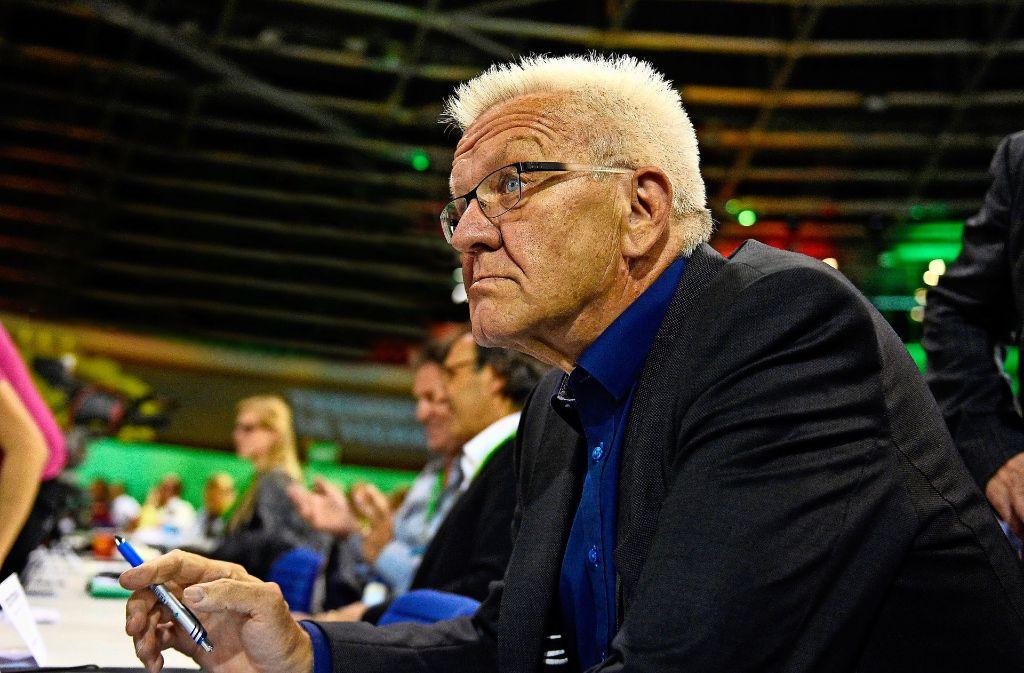 Abgehört: Winfried Kretschmanns auf dem Bundesparteitag in Berlin. Foto: dpa
