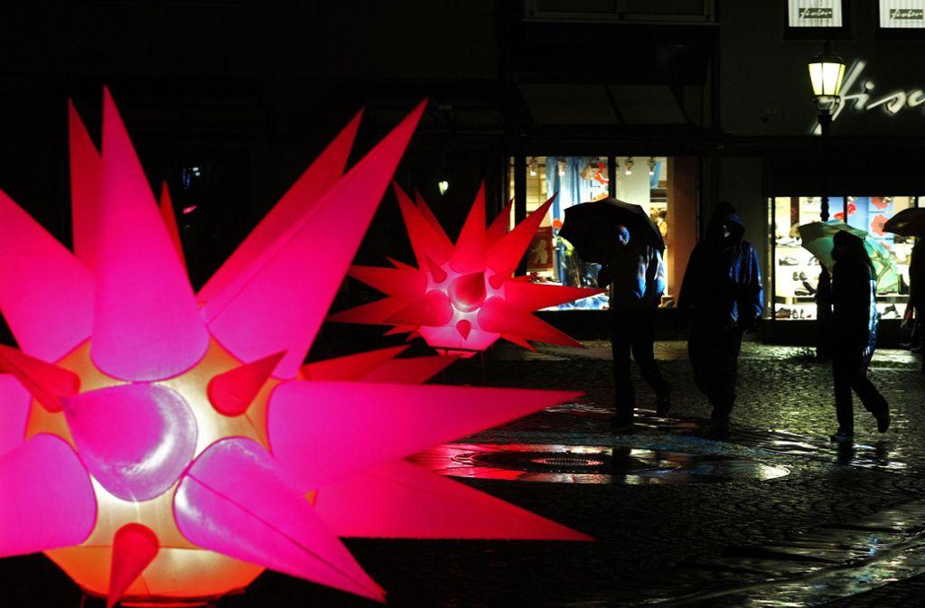 In diesem Jahr werden noch mehr Lichtskulpturen aufgestellt. Foto: Horst Rudel/Archiv