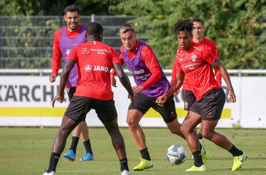 Daniel Didavi spielt im Training den Ball zu Orel Mangala: Der VfB Stuttgart bereitet sich auf Jahn Regensburg vor. Foto: Pressefoto Baumann