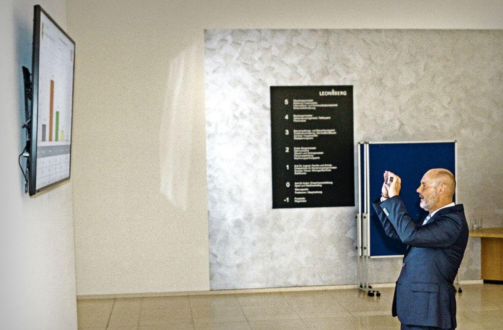 """Das muss festgehalten werden: Martin Kaufmann fotografiert """"sein"""" Wahlergebnis. Foto: factum/Bach"""