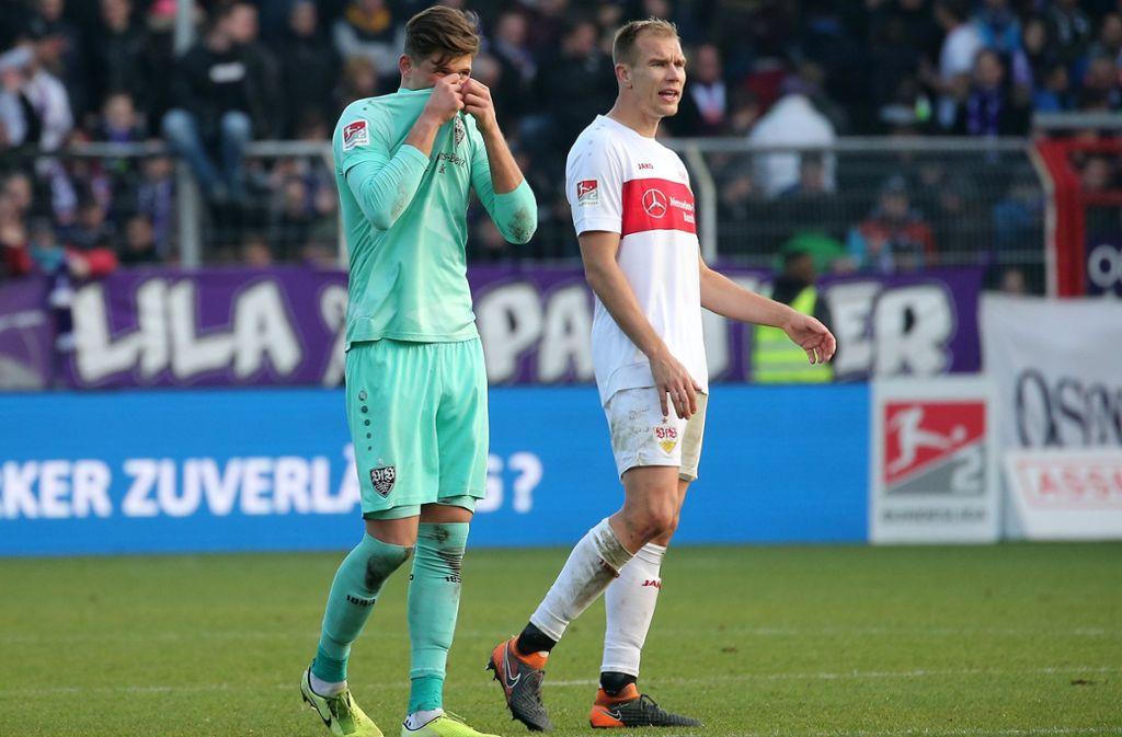 Die Niederlage des VfB gegen Osnabrück ist  bitter. Vor allem, weil es am nächsten Spieltag im Derby gegen den KSC geht. Foto: Pressefoto Baumann/Julia Rahn